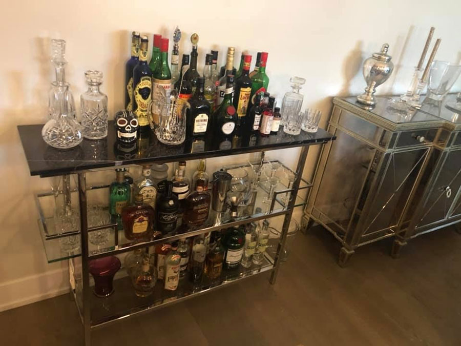 Photo courtesy of Michael Smutny, Craft Cocktail Club member (Bar cart from Mitchell Gold)