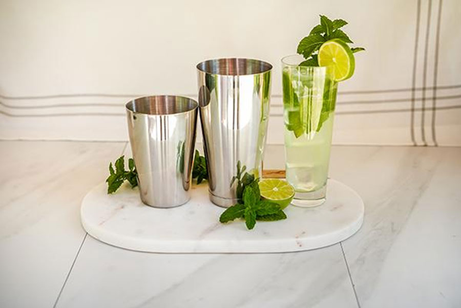 Stainless steel weightedunweighted Boston shaker, copyright A Bar Above